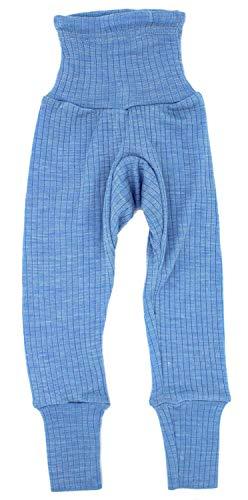 Baumwolle-seide-hosen (Cosilana Baby-Hose mit Nabelbund, Größe 62/68, Farbe Hellblau meliert - Exclusiv Wollbody®GmbH - Qualität 91 45% Baumwolle kbA, 35% Schurwolle kbT, 20% Seide)