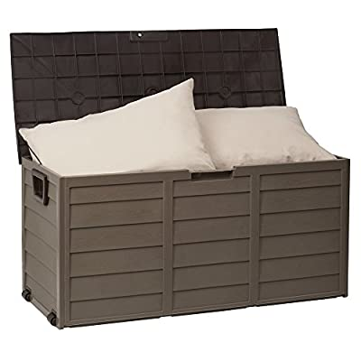 Outdoor Waterproof Plastic Garden Storage Shed / Chest Box Container – Brown / Beige - (Small) - inexpensive UK light store.