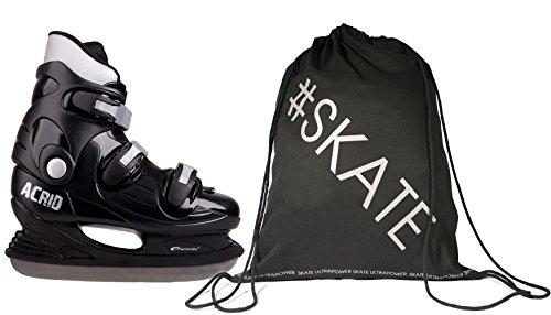 Spokey ACRID Rent Robuste Ice Hockey Schlittschuhe + Ultrapower Rucksack | Edelstahlkufen Schwarz 44 -