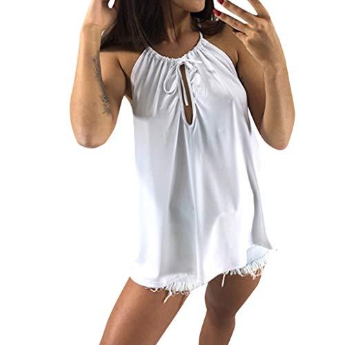 Womens Cut Out Tank Tops Vorne Ärmelloses Hemd Mode hohlen Frauen (XL, Weiß)