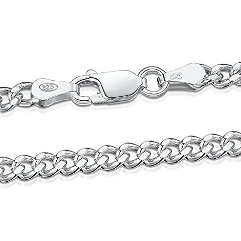 Amberta® Bijoux - Collier - Chaîne Argent 925/1000 - Maille Gourmette - Largeur 3.2 mm - Longueur 60 cm
