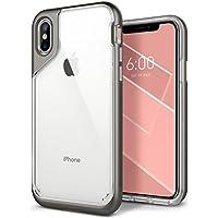 Funda iPhone X, Caseology [serie Skyfall] cubierta protectora transparentee clara delgada antiaranazos con marco protector [Gris Calido - Warm Gray] para Apple iPhone X (2017)