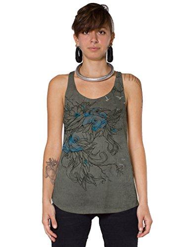 Camiseta sin mangas para mujer - Diseño gráfico exclusivo de Plazmalab 100% algodón - Ropa para festival - Talla L, gris