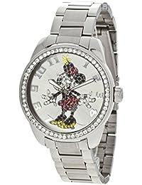 Disney - Reloj analógico de cuarzo para niña con correa de acero inoxidable, color plateado