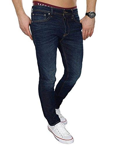 JACK & JONES Herren Jeans jjiTIM 085 Used Look Blue Denim Elasthan Slim Fit (Blau (Blue Denim Fit:SLIM jjiTIM 006), 30W / 32L)