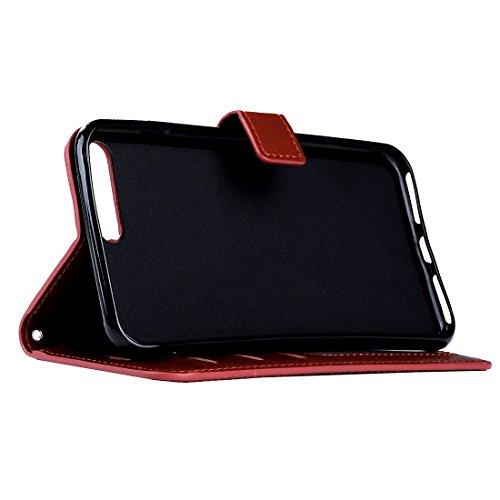 Buona Casa- Per iPhone 7 Crazy Horse Texture orizzontale cassa in pelle con fibbia magnetica e supporto e slot per carte e portafoglio e cornice per foto ( Color : Red ) Brown