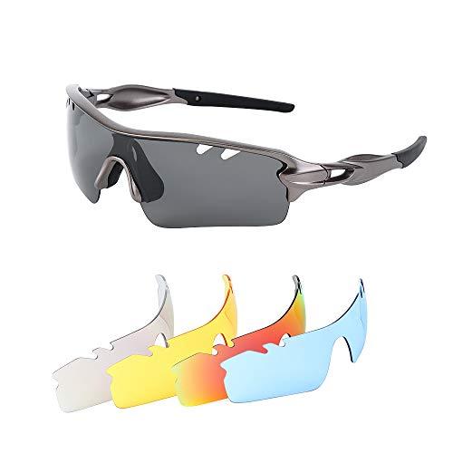 Sportsonnenbrille Fahrradbrille Sport Goggles Radbrille Motorradbrille Sportbrille, Sonnenbrille mit 5 Wechselbare Linsen Outdoor Sport Brille Ideal für Laufen Fahren Fahrrad Angeln Wandern