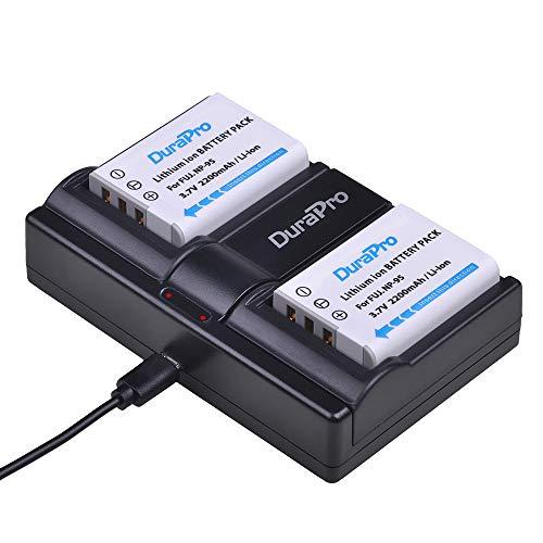 DuraPro Akku und Dual USB-Ladegerät für Fuji NP-95 NP95 Batetry, Fujifilm FinePix F30, F31fd, Real 3D W1, X100, Fujifilm X-S1, X30, X100S, X100T, 2 Stück -