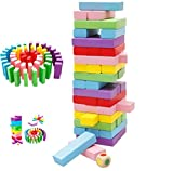 #10: FunBlast® Wooden Tumbling Tower, 48 Pieces Wooden Colorful Toys with Dices, Colored Building Blocks, Color Stacking Toy Kids