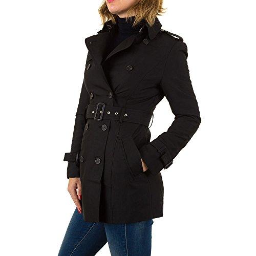 Trenchcoat Kurz Mantel Für Damen , Schwarz In Gr. L bei Ital-Fashion