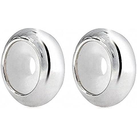 2 PCS * Sterling Silver focale rotonda con tappo in