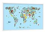 artboxONE Poster mit weißem Kunststoffrahmen 60x40 cm Animal Map of The World V von Michael Tompsett