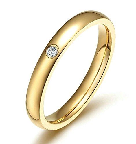 Aooaz Schmuck Damen Ring,Intarsien CZ Polieren Klassisch Edelstahl Ring für Damen Gold Größe 49(15.6) (Orange Klassische Damen Arch)