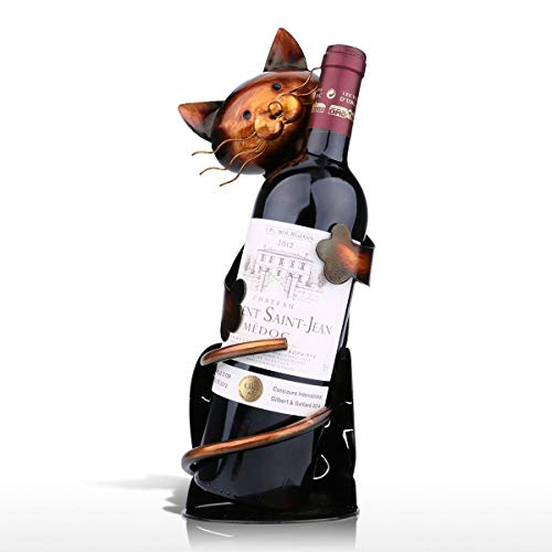 ATEZIEU Cat Shaped Wine Holder Wine Rack Regal Metall Plastik Praktische Home Dekoration Handwerksbetriebe Whimsical Tabletop Wine Racks und Stand für Wein Flasche Office Home Decor -