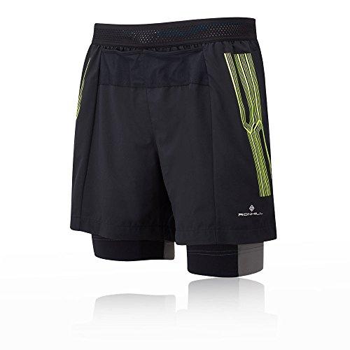Ronhill Herren Infinity Marathon Twin Shorts, R848 Black/Fluo Yellow, M