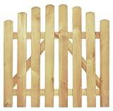 StaketenTür 'Premium' 100x85/100 cm - oben – kdi / V2A Edelstahl Schrauben verschraubt - aus getrocknetem Holz glatt gehobelt – oben gebogene Ausführung - kesseldruckimprägniert