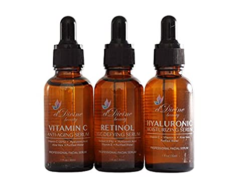 Eldivine Beauty Serum Set | Anti-Aging & Skin Rejuvenation, Perfect Skin Issue Treatment, Remedy Over Wrinkles, Acne, Dark Circles, Puffiness Etc., Organic Formula, 3 Easy-To-Use Bottle Set, Best