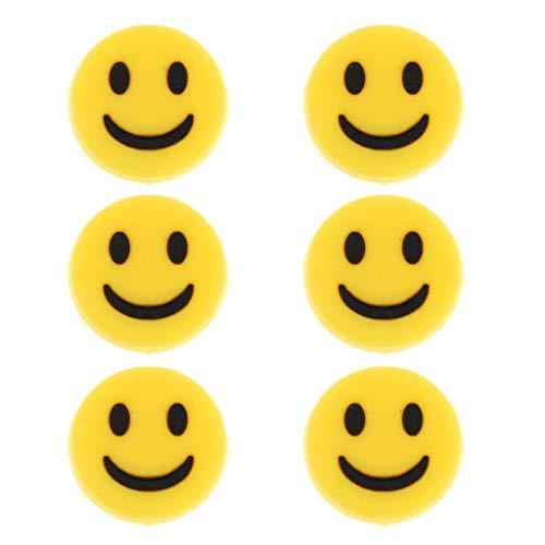 Posan Smiley Vibrationsdämpfer für Tennis im 6er Pack,Gelb