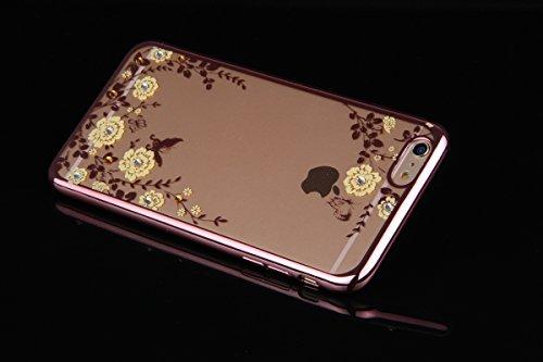 Coque iPhone 7 Plus,Étui iPhone 7 Plus,Coque Étui Case pour iPhone 7 Plus,ikasus® Plating Rose Golden Placage or rose Coque iPhone 7 Plus Silicone Étui Housse Téléphone Couverture TPU Clair éclat Blin Rose or blanc Fleurs