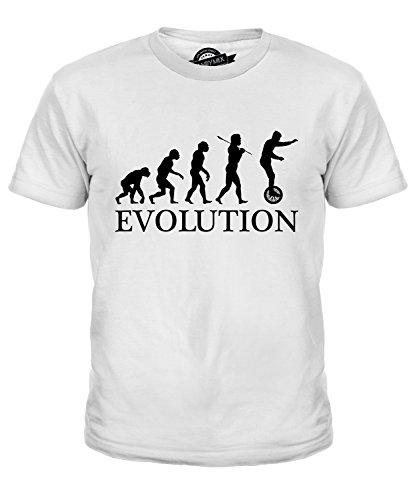 Candymix Einrad Evolution des Menschen Unisex Jungen Mädchen T Shirt, Größe 12 Jahre, Farbe Weiß