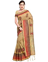 Pisara Women's Art Silk Saree Kanjivaram Style With Blouse Piece,Beige