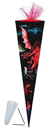 Schultüte - Drache rot 85 cm - mit Tüllabschluß - mit / ohne Kunststoff Spitze - Zuckertüte Drachen schwarz Ritter Ritterbug Dragon