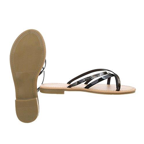 Ital-Design Scarpe da Donna Sandali Tacco a Blocco Infradito nero PM907-12