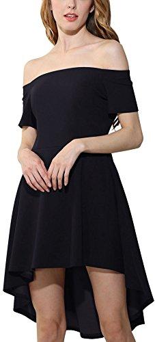 Meyison Damen Schulterfrei kleider Elegant Asymmetrisch Hem Skater kleid Cocktailkleid Abenkleid Festlich Partykleid Gr 36-46 Schwarz