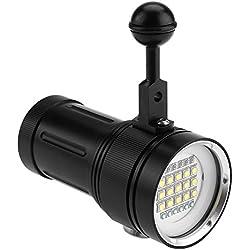 Fdit Lumineux LED Plongée Lampe de Poche en Alliage d'Aluminium Imperméable à l'eau sous-Marine Vidéo Photographie Torche 15 x L2