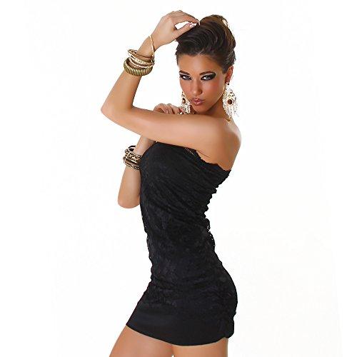 Jela London Kleid Minikleid Spitze Bandeau Schwarz