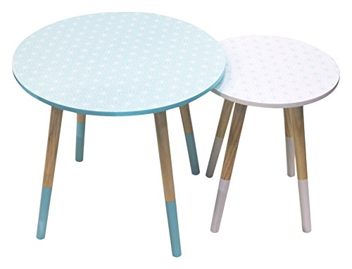 THE HOME DECO FACTORY HD3192 Table gigogne avec Motif MDF Vert/Blanc 42.9 x 47.9 x 47. 9 cm