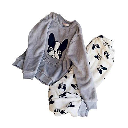 Hund Flanell-pyjama Set (FAH Damen Pyjamas Set Winter Langarm Komfortable Warme Karikatur Plus Samt Hause Weiche Pyjamas,Hund,M)