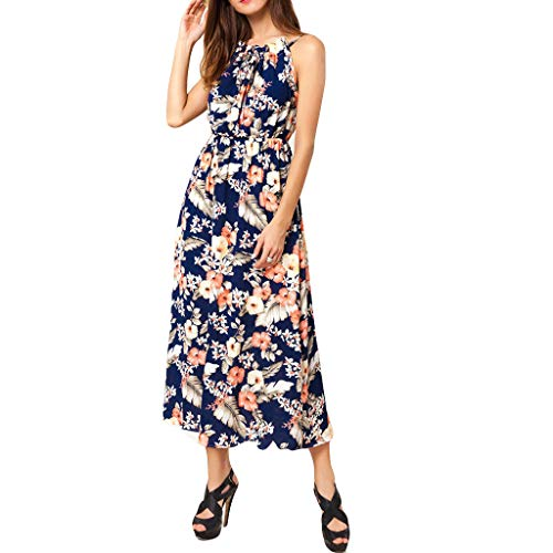 GOKOMO Art- und Weisefrauen reizvoller O-Ansatz Druck-Sleeveless Halter-Unterhemd-langes Kleid(Navy Blue,X-Large)