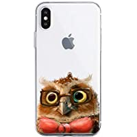 Oihxse Compatible with iPhone Xs Max 6.5'' Case Cover Crystal Clear Ultra Slim Lightweight Soft TPU Gel Bumper, Chic Fashion Pattern Design Transparent [Original Beauty] Shockproof Skin, Glasses Owl
