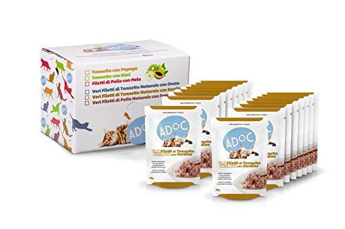 ADOC Cibo Umido per Gatti con Ingredienti Naturali al 100% al Tonno con Sardine - Pacco da 16 Buste da 70 Gr