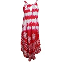 Mogul Interior Womens Fashion Dress Flared Tie Dye Batik Embroidered Sexy Red Sundress M