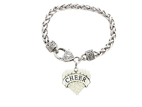 Cheer Cheerleading klar Kristall Herz Silber Kette Armband Schmuck Cheerleader