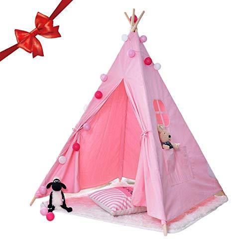 Jannyshop Tienda de Campaña Infantil - India Tipi Jugar Carpa para Niños Playhouse de Lona con 4 Postes de Madera de Color Sólido Rosado