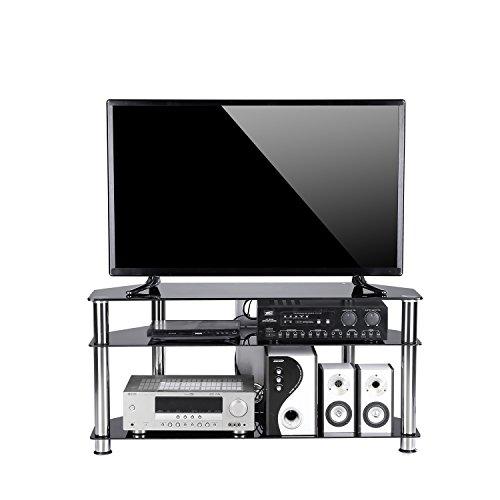 tavr Möbel Schwarz gehärtetem Glas TV-Eckregal Kabel Management Anzug für bis zu 139,7cm LED, LED OLED TV, chrom Beine TS2002 Wand-av-komponenten-regal