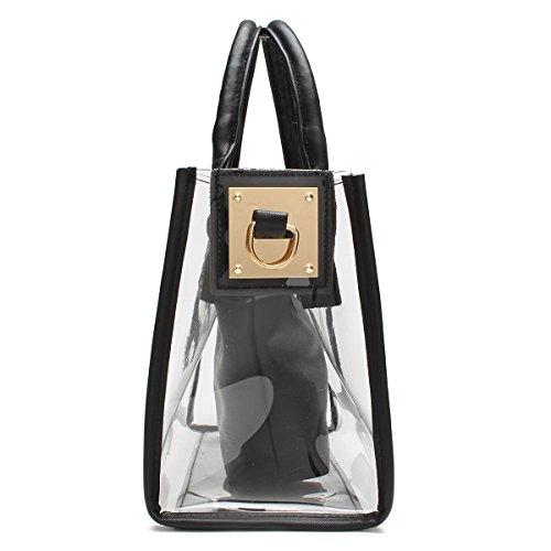 OURBAG Donne Chiaro Borse a maniglia superiore PVC Impermeabile Borsa a tracolla Con sacchetto cosmetico bianca Nero