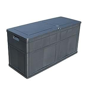 auflagenbox 320l garten truhe aufbewahrung f r terrasse und garten schwarz anthrazit 119 x. Black Bedroom Furniture Sets. Home Design Ideas