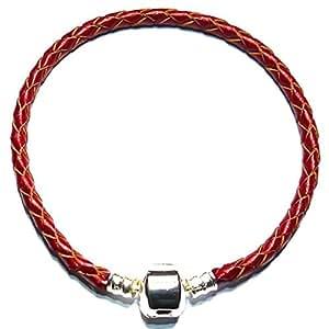 Charm Buddy 22cm Red Silver Plated Braided Leather Charm Bracelet Fits Pandora/Troll/Chamilia Beads
