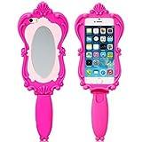 NightKid Silicona suave del espejo mágico de Barbie funda (iPhone 6S Plus iPhone 6S iPhone 6 Plus iPhone 6 iPhone 5C iPhone 5/5S iPhone 4/4S )(iPhone 5/5S,Rosa)