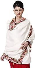 Weavers Villa Women's Kashmiri Shawl,Large(White wool,SK--107-WHITE)