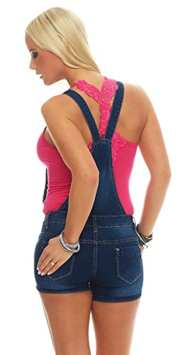10977 Fashion4Young Damen Latzhose Hotpants Jeans Shorts kurze Hose mit Hosenträgern Jeanslatzhose Dunkelblau