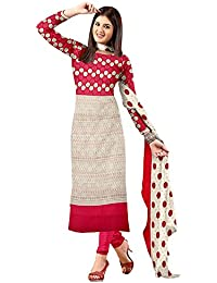 Rajnandini Women's Cotton Printed Dress Material(JOPLVSM3794_Cream And Pink_Free Size)