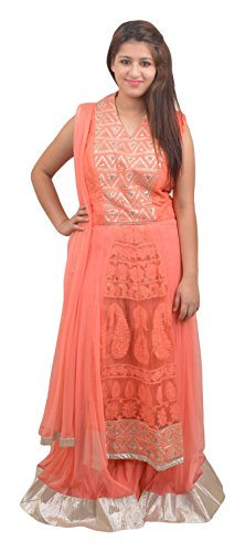 Manshi Women's Net Salwar Suit Set (Peach , X-Large)