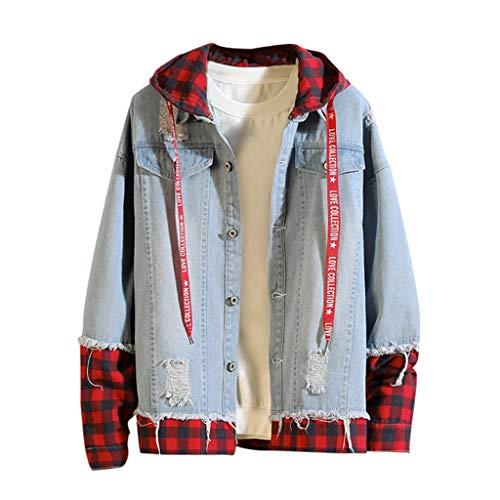 Distressed-fleece-sweatshirt (Loxmy Herren Jeansjacke - Vintage Mantel - Destroyed Denim Mantel und Taste, Männlich Herbst Winter Casual Vintage Wash Distressed Denim Jacke Mantel Top Bluse Jacket Jeans-Jacke)