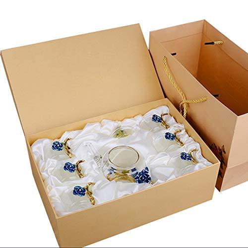 BAIVIT Emaille Glas Teetasse, Haushalt hochwertige kleine Glasschale Teekanne Set (6x80ml Teetasse + 1x380ml Teekanne,Blue (Kleine Glasschalen Weiße)