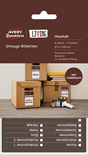 Avery Zweckform 62012 Living Umzugs Etiketten (97 x 148 mm, 3 Farben) 6 Stück weiß thumbnail